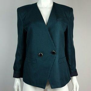Vintage Green & Navy Houndstooth Blazer